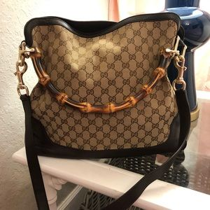 Gucci satchel bamboo handle tote purse canvas